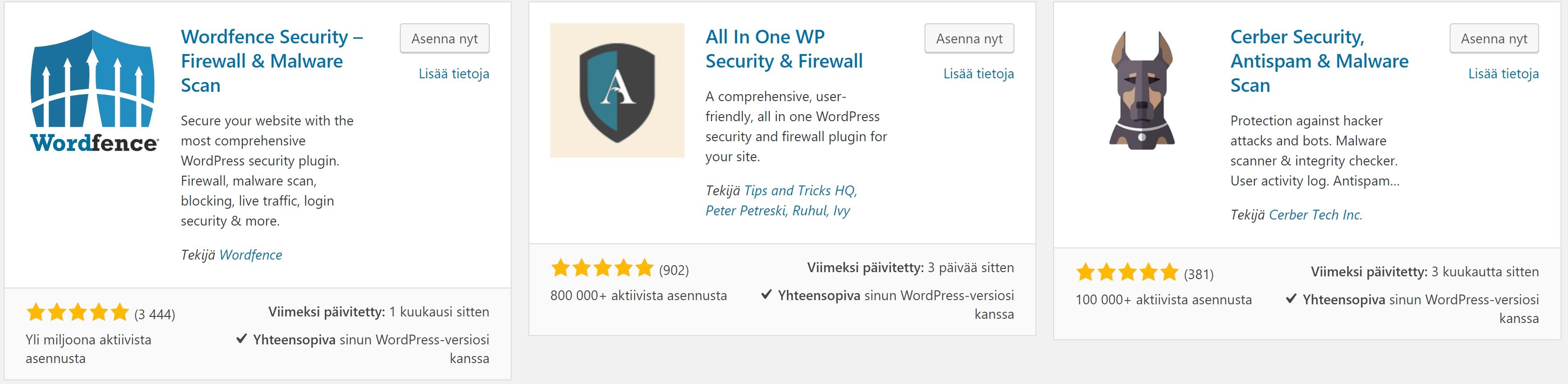 WordPress turvallisuus
