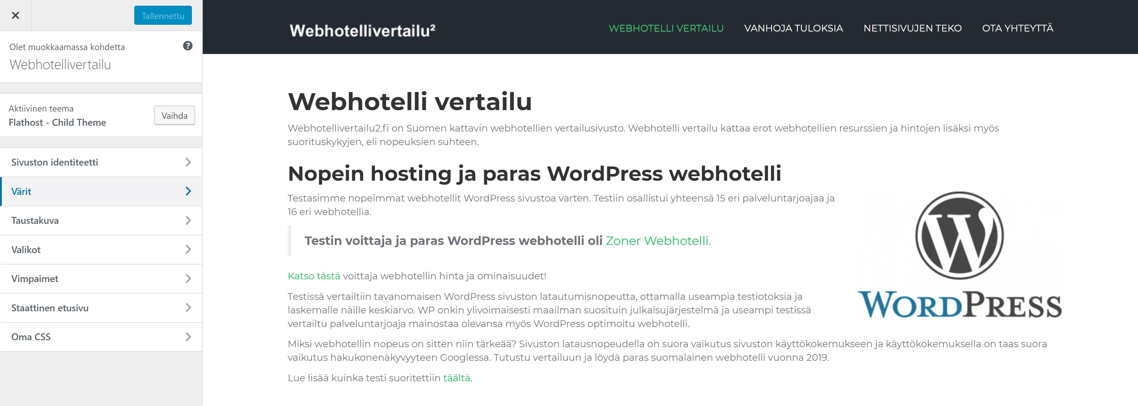 wordpress teeman muokkaus