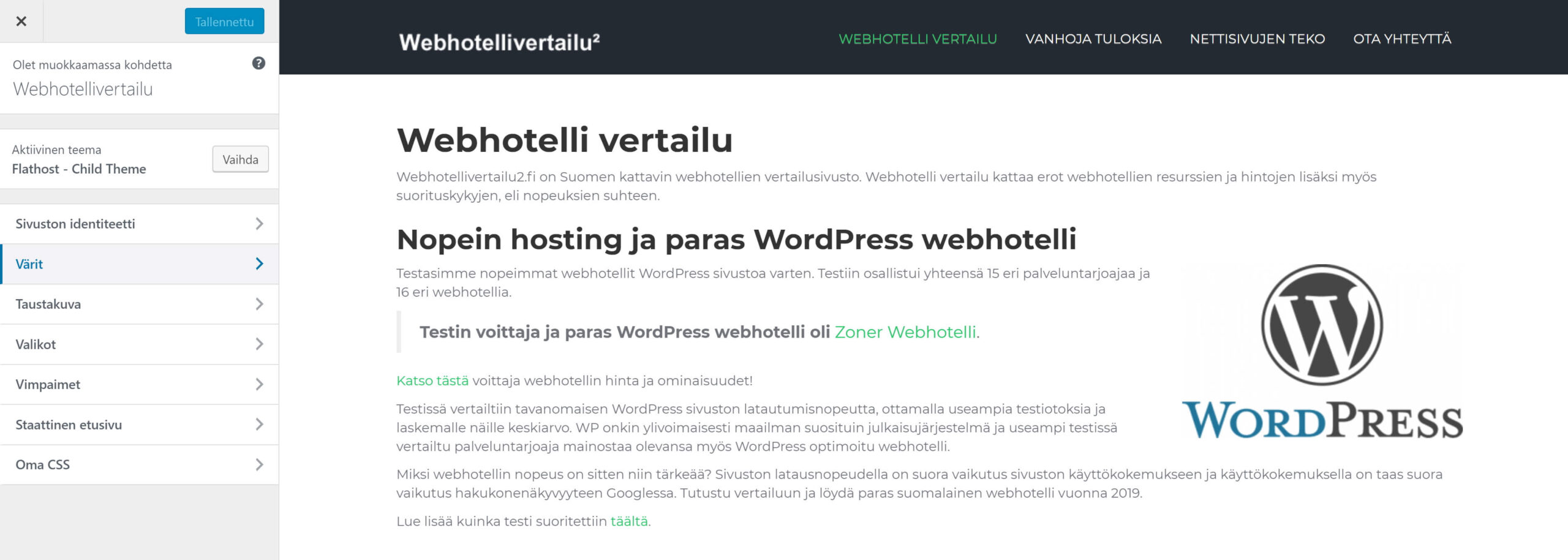 wordpress-teeman muokkaus